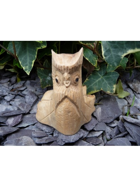 Hand Carved Baby Owl Wood Carving