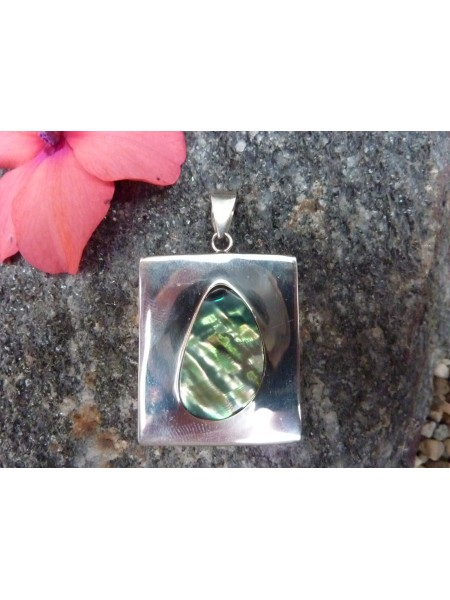 Sterling Silver With Abalone Inlaid Pendant